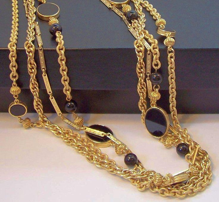 Vintage R Mandle Four Strand Black Beads Cabs Goldtone Metal Long Chain Necklace