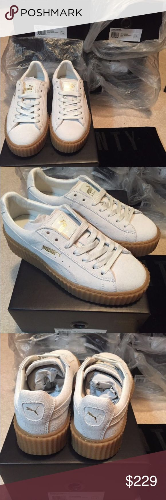 Puma Fenty Rihanna Suede Creepers WhiteOatmeal Gum Comes With Receipt These are Brand New if you want to buy please comment your number or text me @ (404) 793-8028 if you want to buy ‼️ payment is not on poshmark thanks (also price is lower ) ‼️ Puma Shoes Sneakers