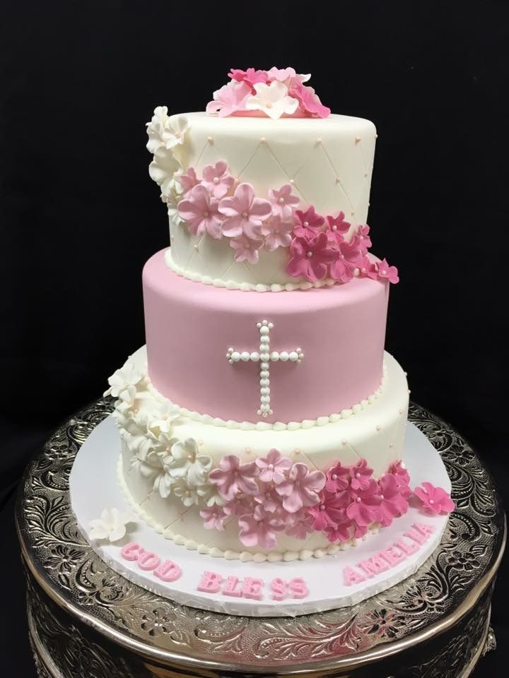 Pink & White Baptism Cake with Diamond Quilting and Sugar
