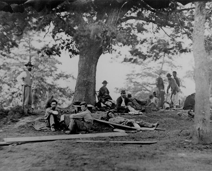 Wounded soldiers being tended in the field after the Battle of Chancellorsville near Fredericksburg, Va., May 2, 1863.