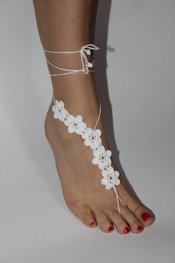 Beach wedding shoes White Crochet Barefoot Sandals by craftbyaga, $15.00