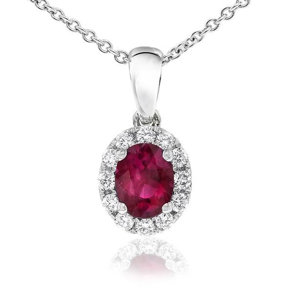 Dazzling Aura pendant featuring an oval ruby surrounded by white diamonds. The Gerard McCabe Aura range features matching earrings, pendants and rings. This pendant is crafted in 18ct white gold and comes with a chain which is adjustable from 42-45cm long.