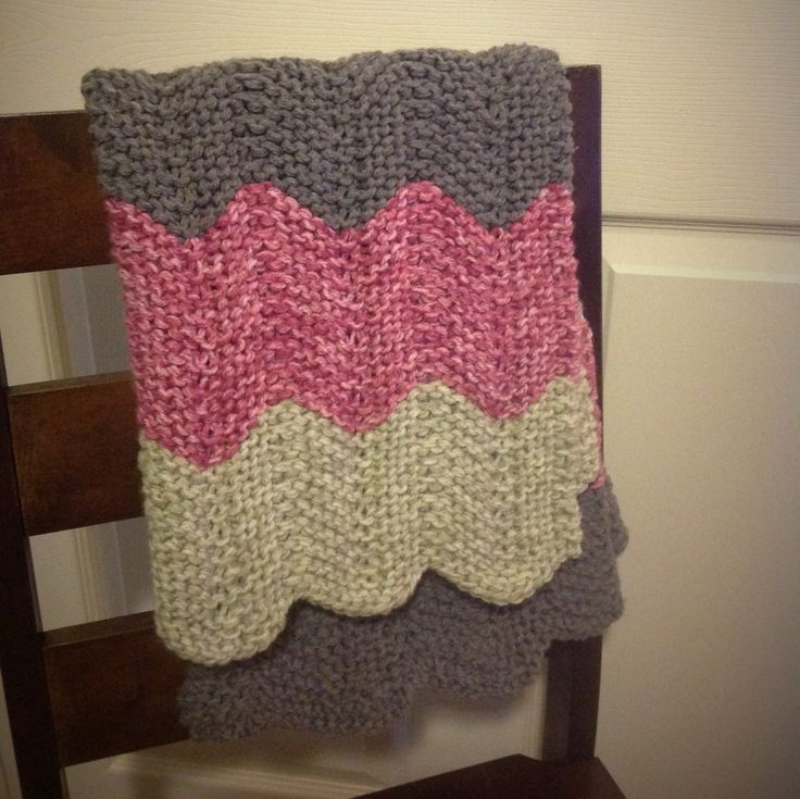 Pink, Green, and Gray Chevron Handmade Knit Baby Blanket by DrKaylnCraftsALot on Etsy https://www.etsy.com/listing/268328646/pink-green-and-gray-chevron-handmade