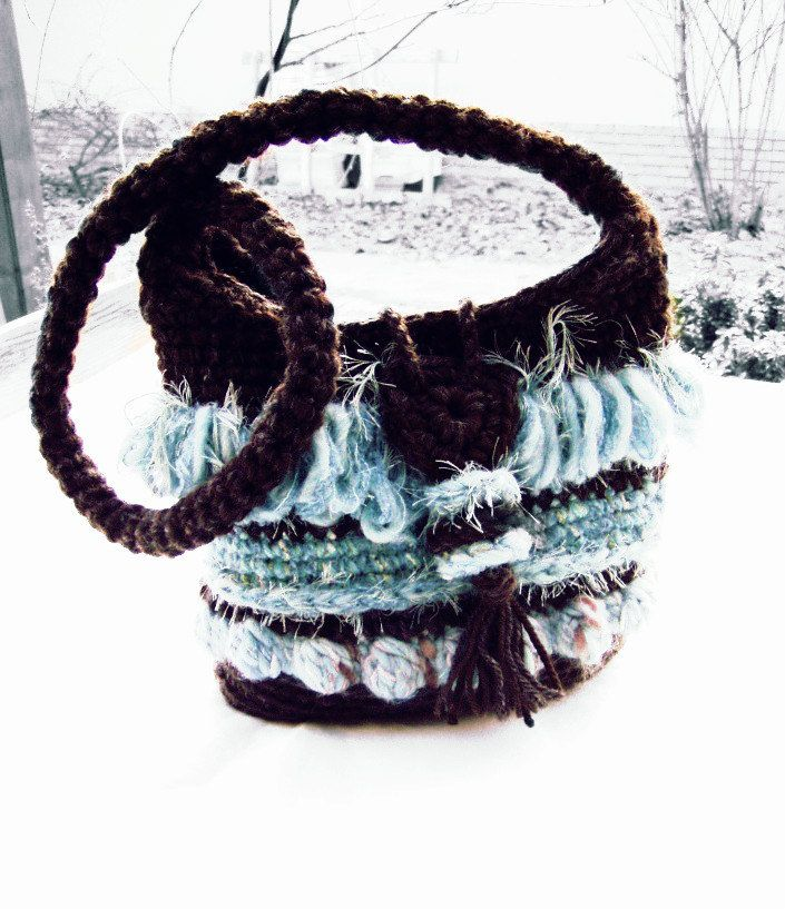 Fringes crochet boho fashion shoulder bag Brown & Blue ice, Freeform crochet OOAK #friges #bohostyle #bohofashion #bohochic #slouchybag #bohobag #feminine #bohofringe