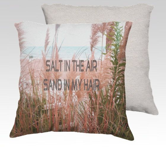 Beige and green beach dune photo pillow, sand in my hair  quote cushion, beach grass throw pillow art, beige, green, aqua blue bedroom decor on Etsy, £24.24