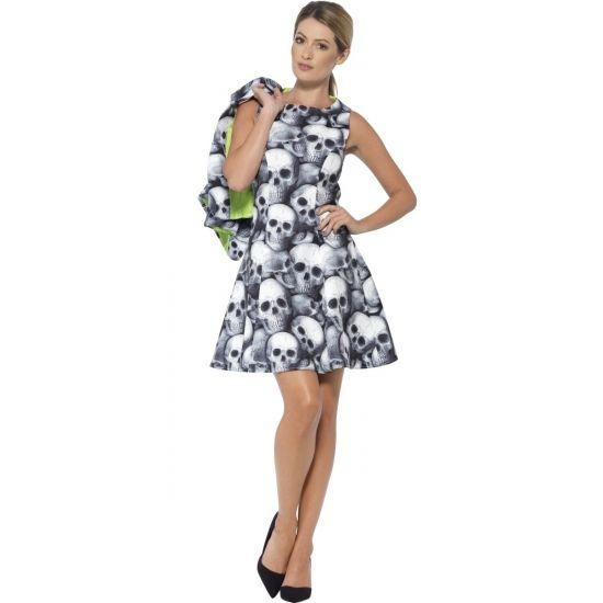 Compleet verkleedkostuum met schedelprint voor dames, bestaande uit een A-lijn jurkje met bijpassende korte blazer. Het kostuum is gemaakt van 100% polyester.