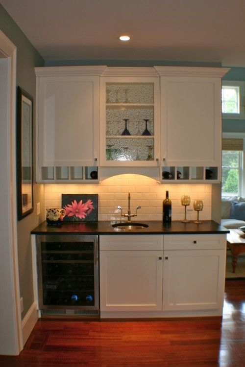 basement kitchenette small shelves below uppers are perfect for glasses - Basement Kitchen Ideas