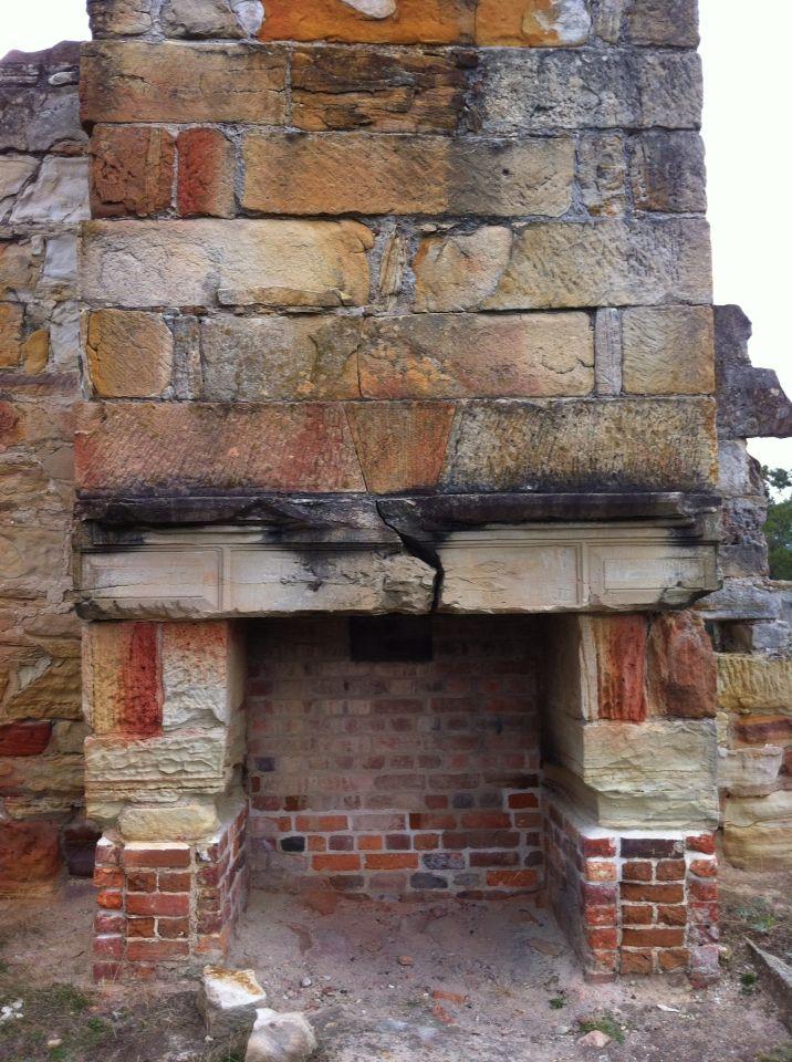 Convict built fireplace - Coal mines near Port Arthur, Tasmania ( by Erika Trenham )