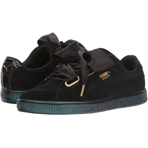 PUMA Suede Heart Satin (Puma Black/Puma Black) Women's Shoes (545 HRK) ❤ liked on Polyvore featuring shoes, black platform shoes, black lace up shoes, puma shoes, platform lace up shoes and satin shoes