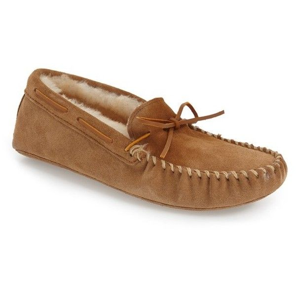Men's Minnetonka Genuine Shearling Lined Leather Slipper ($68) ❤ liked on Polyvore featuring men's fashion, men's shoes, men's slippers, golden tan, mens leather moccasin slippers, minnetonka mens slippers, mens moccasins, mens slippers and mens leather moccasins shoes