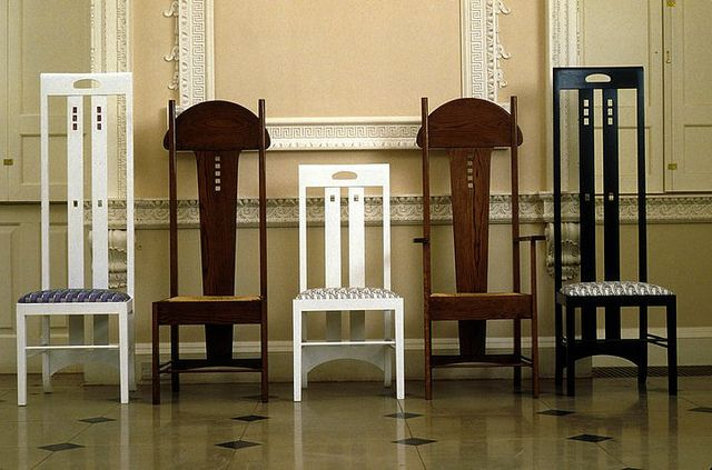 Chairs designed by Charles Rennie Mackintosh, Glasgow dinning chairs. made from wood upholster pads on seats. everyone could use this chair.