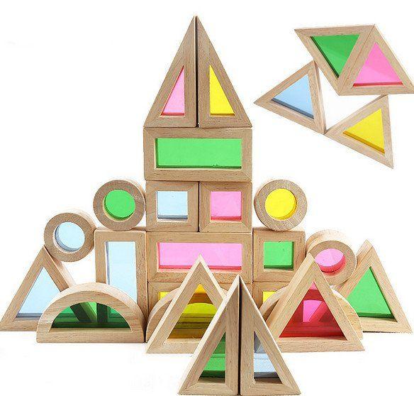 Premium Colorful Acrylic Wooden Building Block Learning Set, 24 Pieces, 6 Unique Shapes