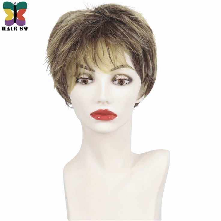 HAIR SW Short Pixie Cut Ladies wig Brown mixed Golden Blonde Highlights Synthetic Haircut Layered with bangs wig For Mother