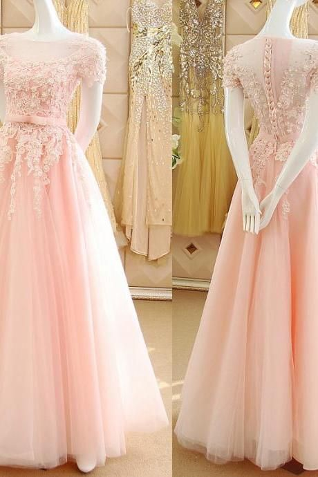 Pink Princess Prom Dresses with Lace Appliques, Illusion Prom Dress with Short Sleeves, See-through Tulle Prom Dresses, #020102120