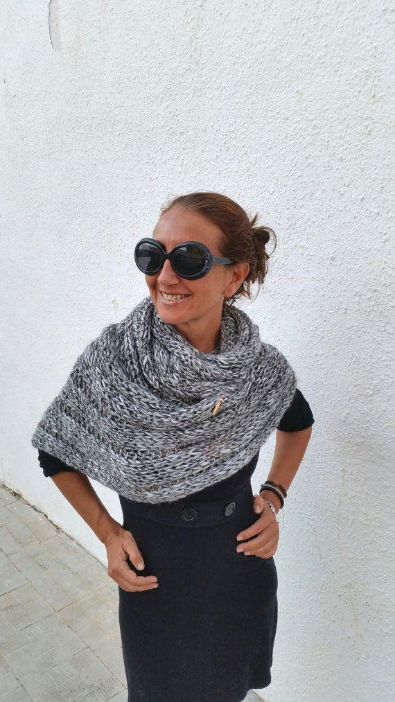 Bufanda de lana extra larga, cuello de punto, estola de lana, tejido a