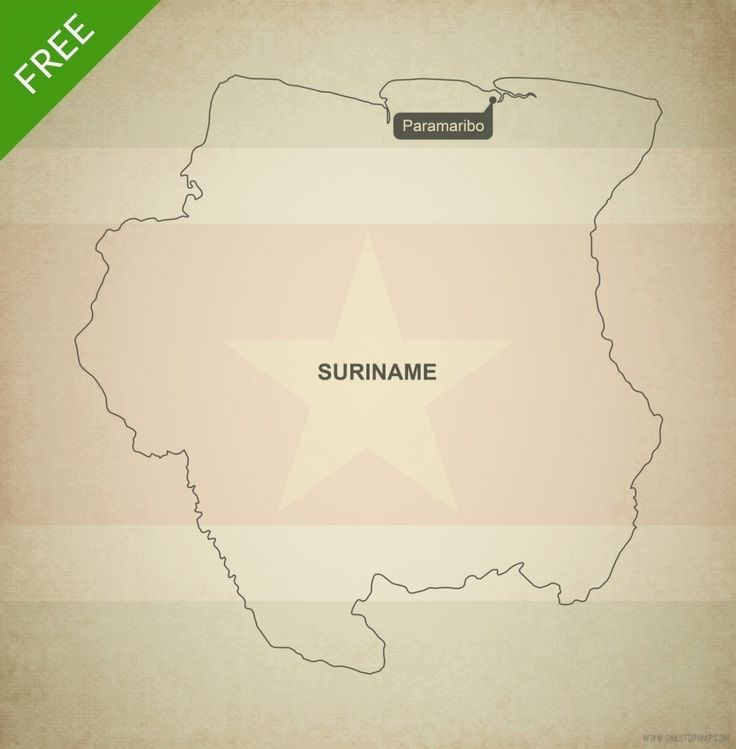 North America Map Outline Printable%0A Free Vector Map of Suriname Outline