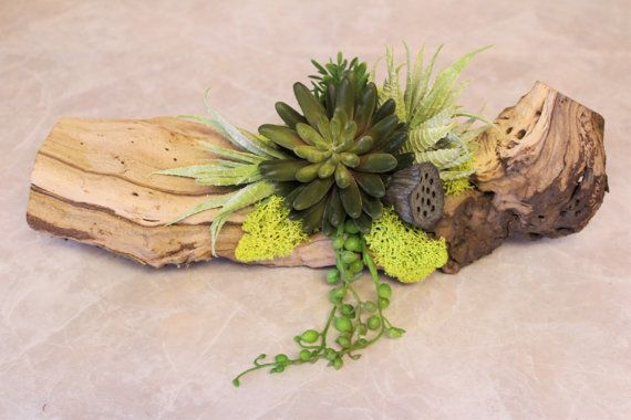 Faux Succulents on a Grape Wood Arrangement by KIFDesigns on Etsy