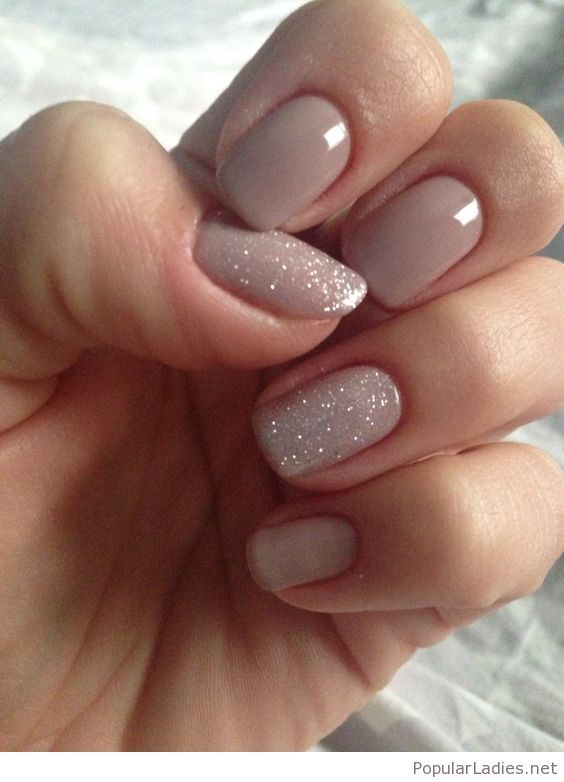 simple-nude-grey-nails-with-glitter