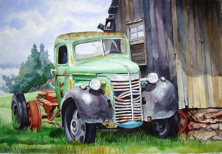 Acuarela de Barbara Sailor ~ Camión en el granero (15x30)
