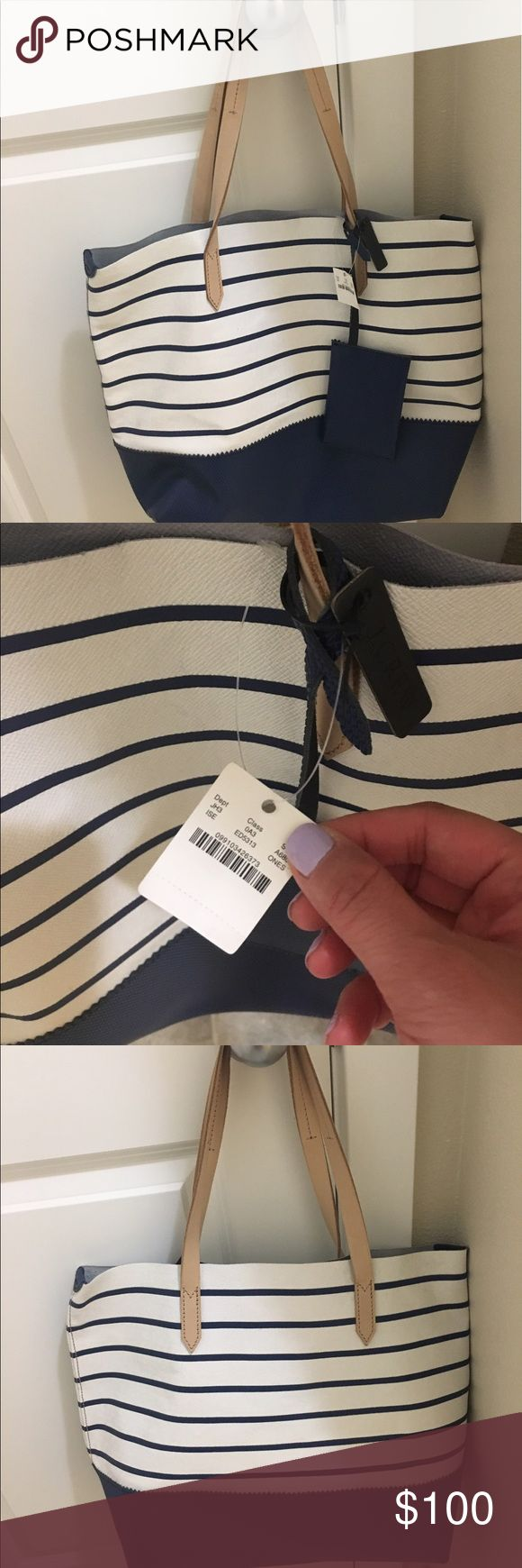 J crew Downing Stripe Tote Bag Popular Downing tote bag. It's New and good leather.stripe style and thin leather around top area. J. Crew Bags Totes
