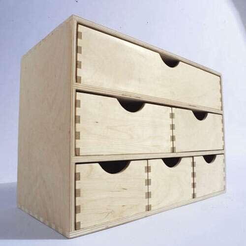bloc 6 tiroirs en quinconce en bouleau naturel haut 28. Black Bedroom Furniture Sets. Home Design Ideas