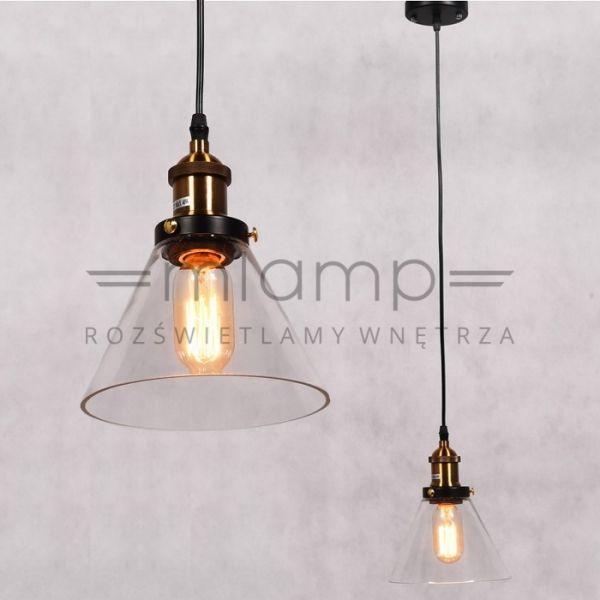 Industrialna LAMPA wisząca NUBI LDP 6801-1 Lumina Deco szklana OPRAWA zwis loft stożek przezroczysty