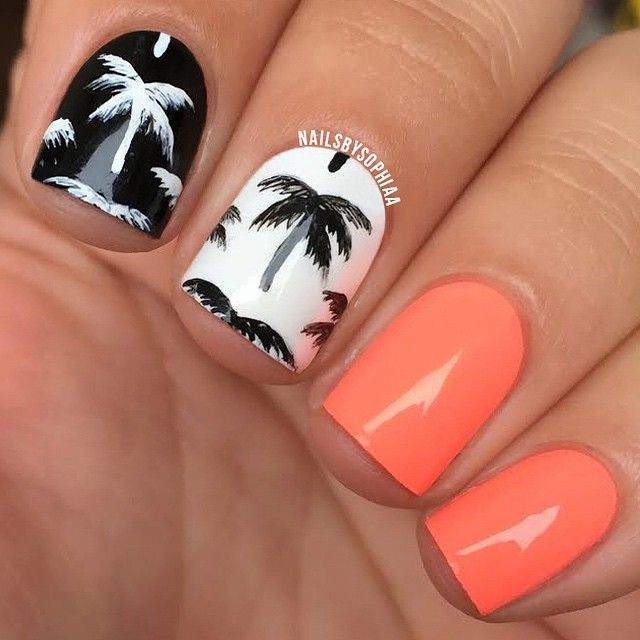 "neon & palm trees. The neon coral is @chinaglazeofficial ""flip flop fantasy"" inspired by @jauntyjuli palm tree nail art"