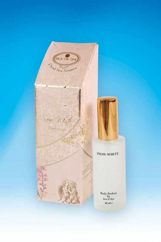 Perfumy z serii Snow White. 60 ml. Perfumy na bazie soli morskiej i błota z Morza Martwego, o zapachu typowego Piżma, mocne ale nie nachalne w swoim zapachu. Długo utrzymują zapach. Doskonałe dla osób ze skłonnością do pocenia się.