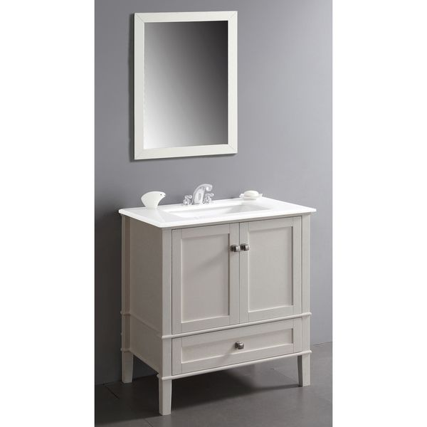 simpli home chelsea 30 in vanity in soft white with quartz marble vanity top in white and rectangular sink at the home depot mobile