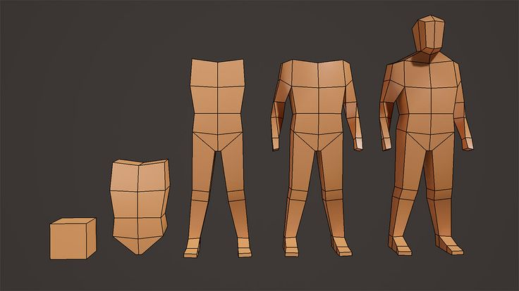 Modeling a character by blocking out the major form. #maya