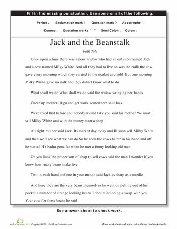 Worksheets: Punctuation: Jack and the Beanstalk