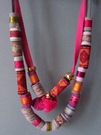 elcuadernodeideas: Collares con cintas y bieses