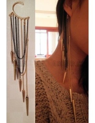 Ear Cuff Jewelry with Spiked Tassles