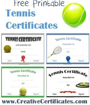 A Variety Of Free Printable Tennis Certificate Templates. Many More Free Sports  Awards And Award Certificates On This Site.
