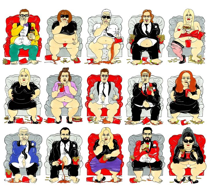 #fat #fashion stars, Artist Adresses Weight In Fashion By Making Style Icons Extremely Overweight by Alexsandro Palombo