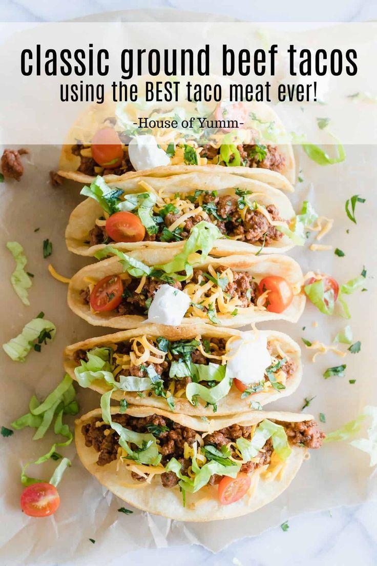 Classic Ground Beef Tacos Recipe Ground Beef Tacos Tacos Beef Ground Beef
