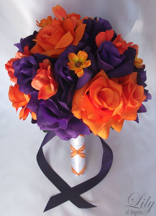 Orange and purple bouquet-just add a little green and that'd be perfect for our wedding.