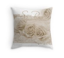 Throw Pillow.  #roses #threesepiaroses #sepiarosesandlace #rose #beadedlace #threesepiaroses #roseart #sepiaroseart  #romanticroses #feminineroses #floralhomedecor #sandrafoster