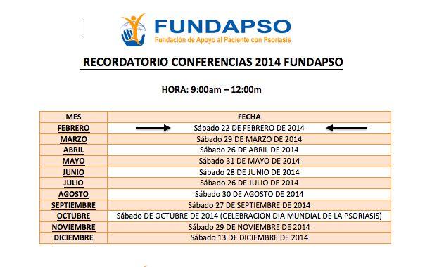 Nuestra programación de conferencias 2014. El 22 de Febrero los esperamos en la  Carrera 41A No. 12 - 60 Barrio Departamental. www.fundapso.org