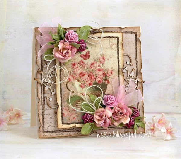 Скрапбукинг открытка с цветами из бумаги