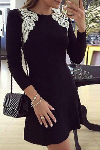 Stylish Off-The-Shoulder Long Sleeve Color Block Lace Hem Women's Fit and Flare …