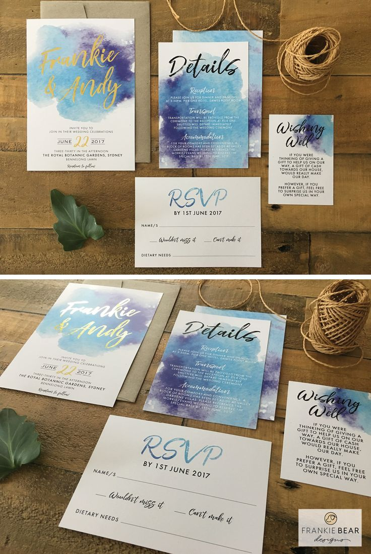 BLUE and PURPLE WATERCOLOUR   WATERCOLOR WEDDING SUITE by Frankie Bear Designs. This invitation features a gorgeous blue and purple ombre watercolour / watercolor background and a beautiful script font. Choose 'foil printing' to have your invitations printed with real metallic foil in the names!