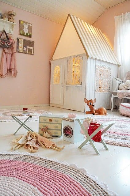 A pretty little play house INDOORS - that would have saved me having to hose out the girls' outdoor one, EVERY day to get rid of the cobwebs, bugs + splashed on dirt/mud, etc when my girls were little.