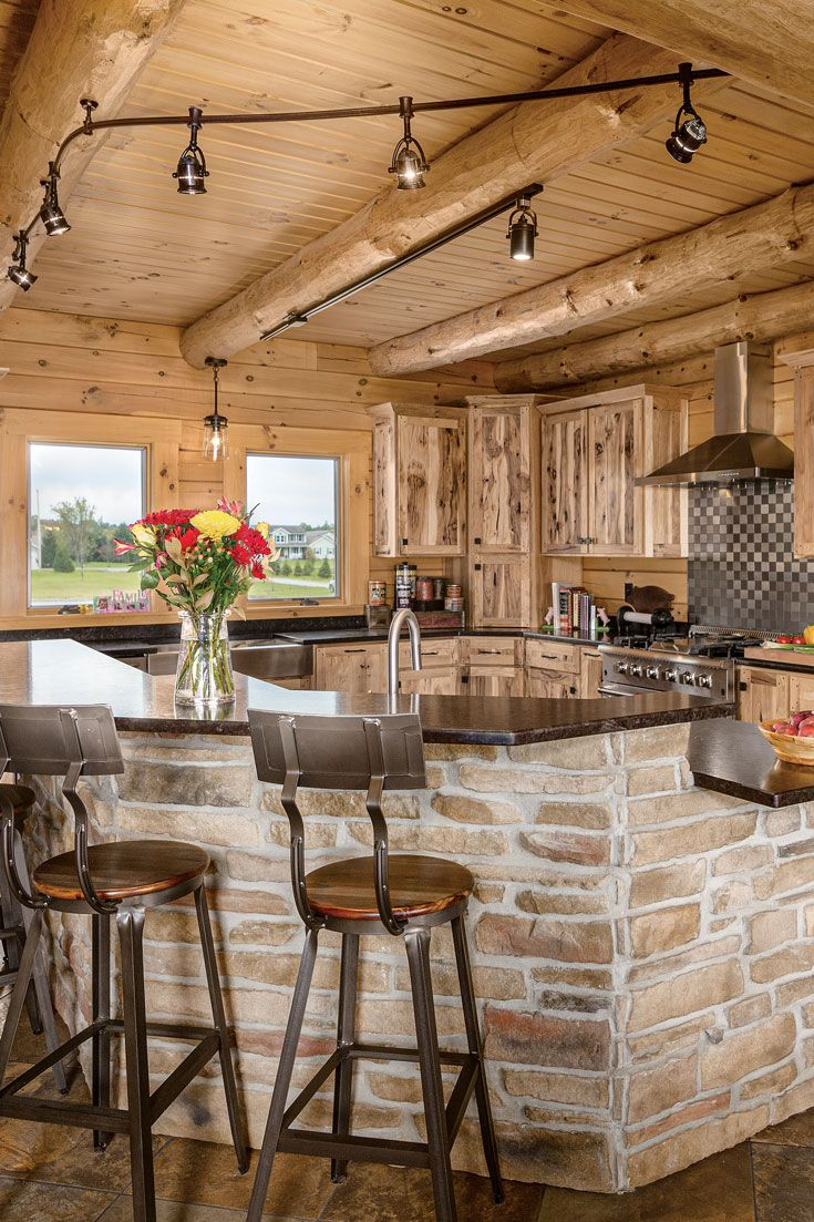 An Ohio Log Home Built In An Old Farm Field In 2020 Log Home Kitchens Log Cabin Kitchens Rustic Cabin Kitchens