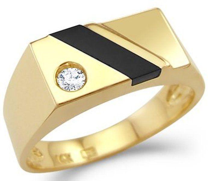 Mens 14k Solid Yellow Gold Man made  Diamond Wedding Band Ring