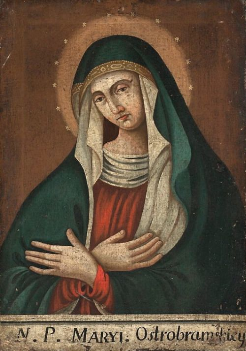 Matka Boska Ostrobramska A 19th century Polish copy of the much revered miraculous image of Our Lady of Ostra Brama, or Gate of Dawn in English. The original icon hangs in a chapel above one of the city gates of Vilnius, Lithuania. It is an object of...
