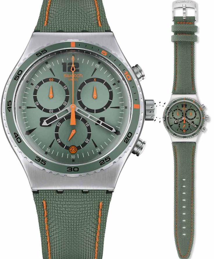 SWATCH Irony Chrono Du Marais Green Leather Strap Μοντέλο: YVS402 Τιμή: 130€ http://www.oroloi.gr/product_info.php?products_id=33908