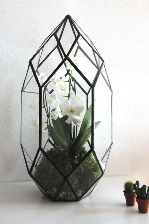 Geometric Terrarium / Stained glass terrarium / by ExpatDesignShop