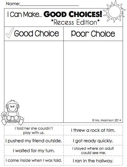 "Back to School Printables - First Grade Literacy and Math. ""I Can Make Good Choices"" Recess Edition!"