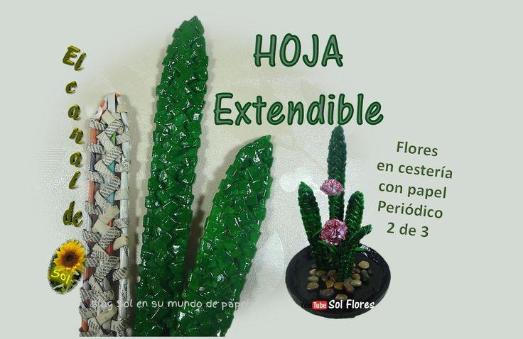 Hoja extendible,  flores en cestería con papel periódico 2 de 3 -  flowe...
